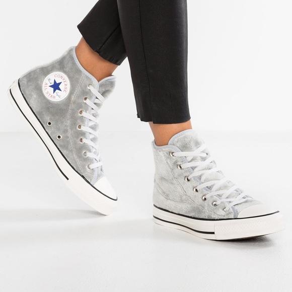 d5d7b7cdc13 Converse Shoes - NWOB Converse Women s Lace-Up Faux Fur Wolf Grey